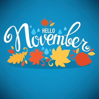 hello November, bright fall leaves and lettering composition